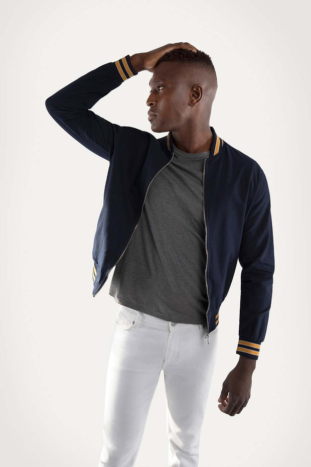 Navy & Yellow Oxford Bomber Jacket