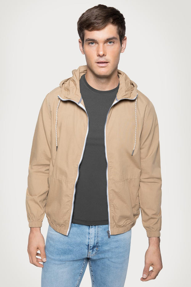 Khaki Poplin Hooded Jacket