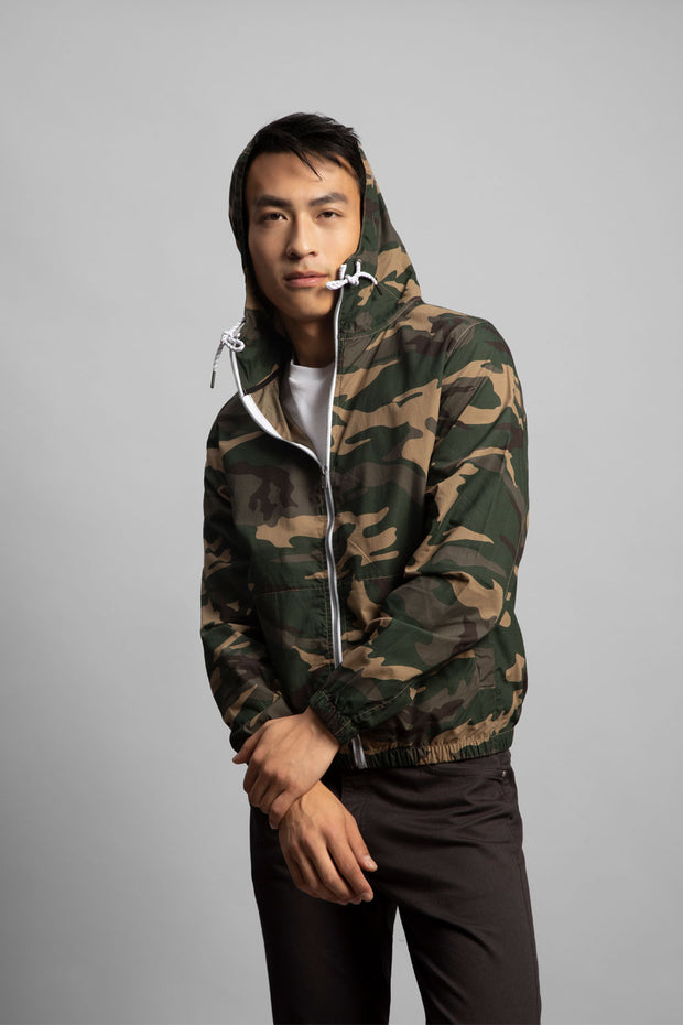 Camo Poplin Hooded Jacket