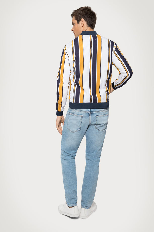 Yellow Striped Bomber Jacket