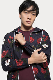 Navy Floral Hooded Lightweight Jacket