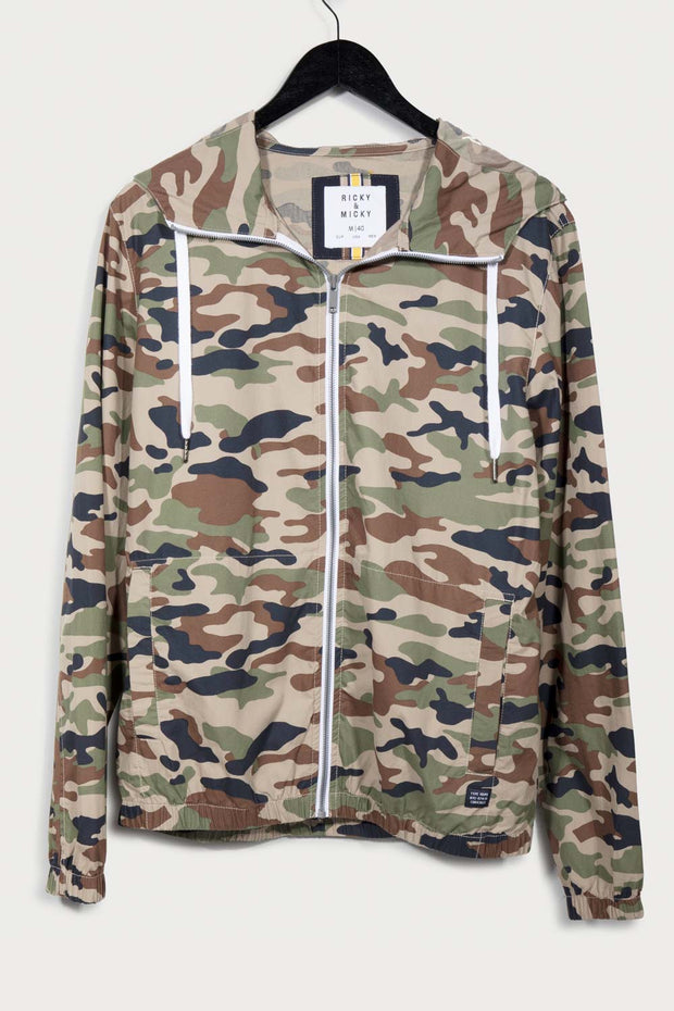 Green Camo Hooded Lightweight Jacket