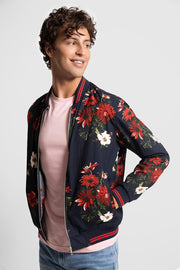 Red & White Floral Bomber Jacket