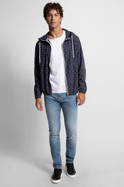 Navy Skull Print Hooded Jacket