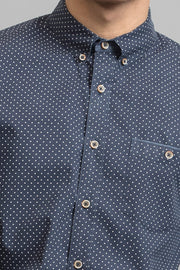 Navy Blue Polka Dot Print Shirt