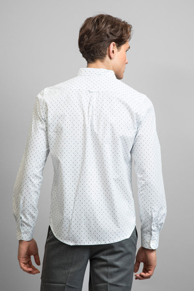 White Geo Print Long Sleeve Shirt