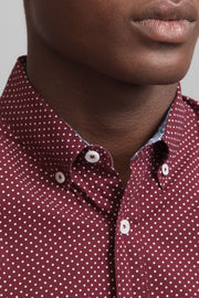 Burgundy Polka Dot Print Shirt