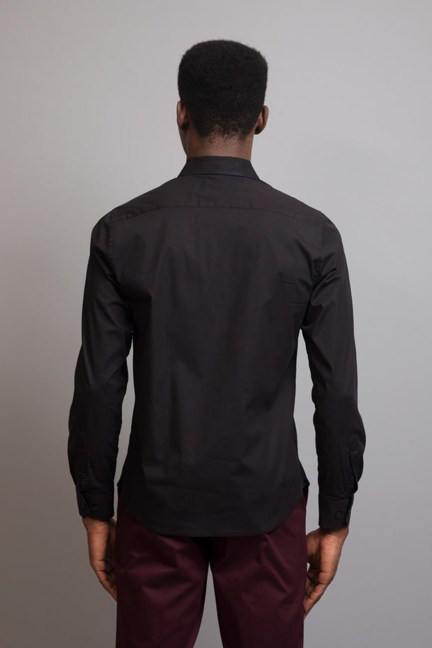 Black Slim Fit Solid Dress Shirt
