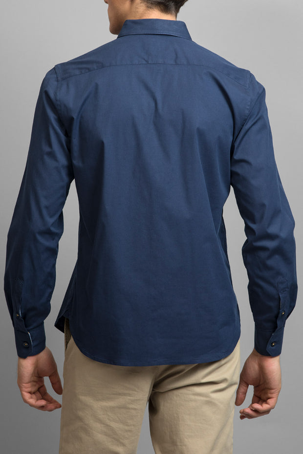 Navy Slim Fit Solid Dress Shirt