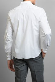 White Slim Fit Solid Dress Shirt