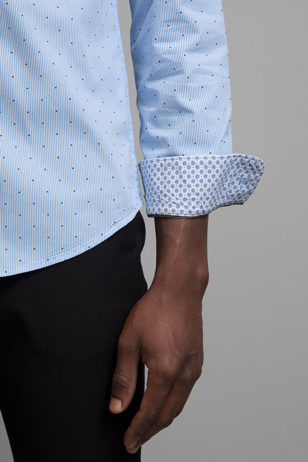 Blue Stripe & Polka Dot Shirt