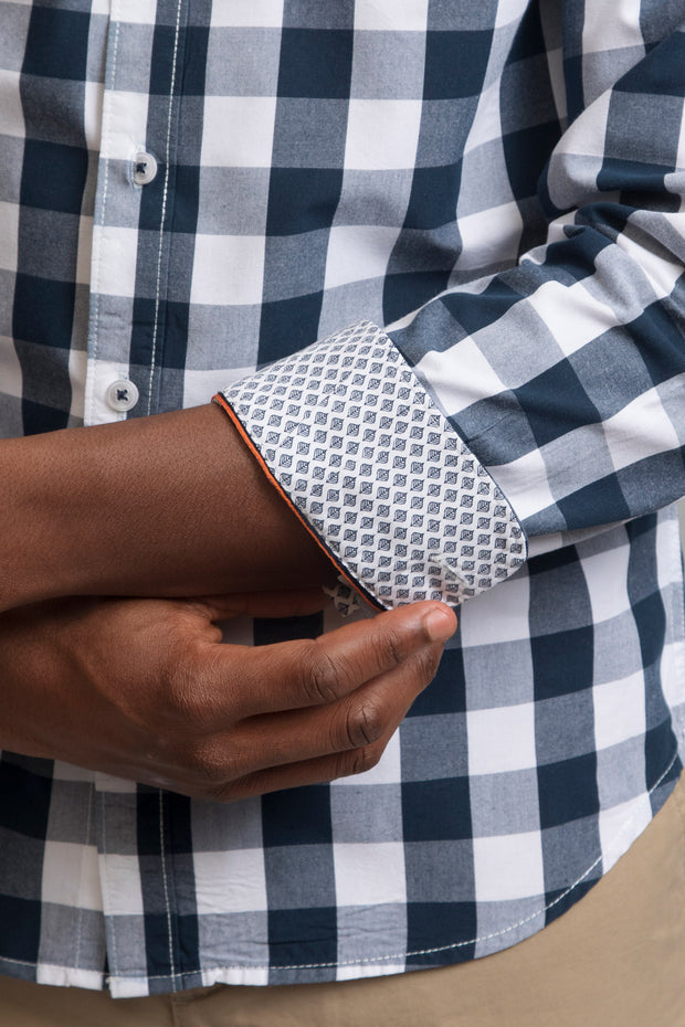White & Navy Checkered Shirt