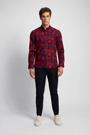 Red & Navy Floral Long Sleeve Shirt