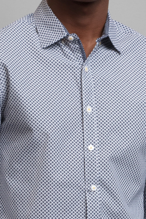 White & Navy Geo Print Shirt