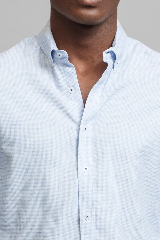 Slim Fit Blue and White Dress Shirt