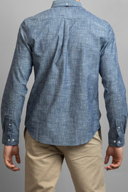 Blue Geo Print Long Sleeve Shirt