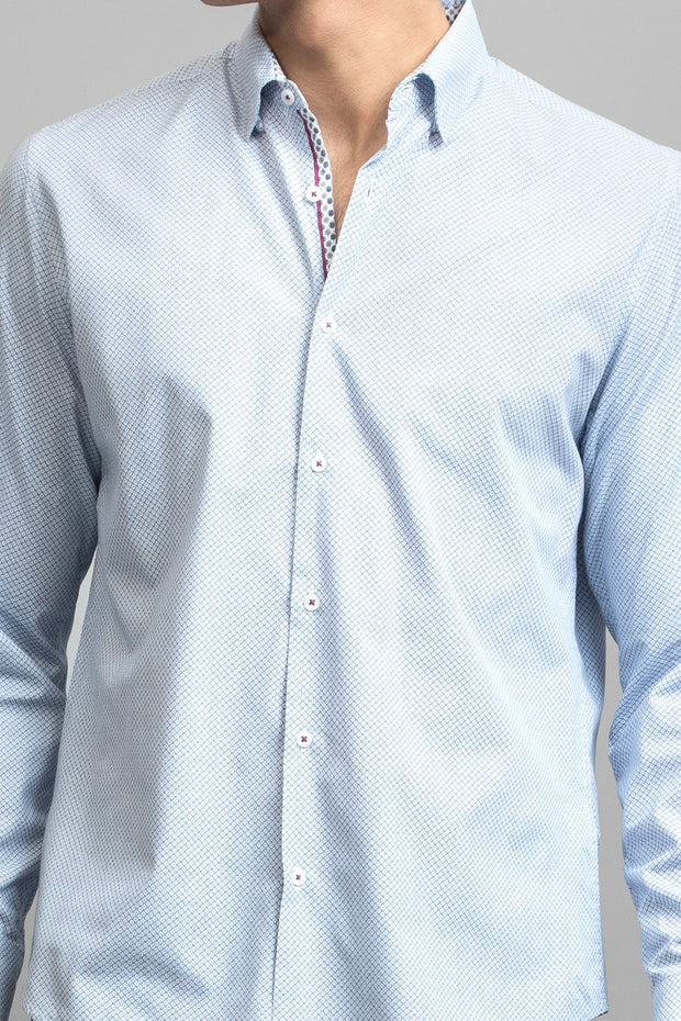 Slim-Fit Cotton Blue Dress Shirt