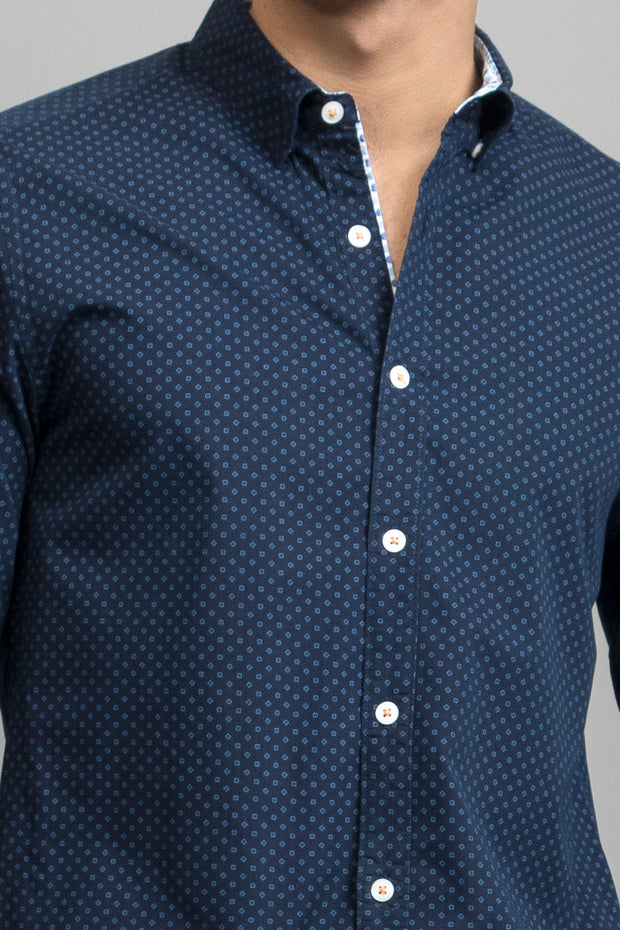 Navy Diamond Geo Print Shirt