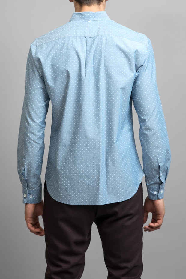 White Polka Dot Chambray Shirt