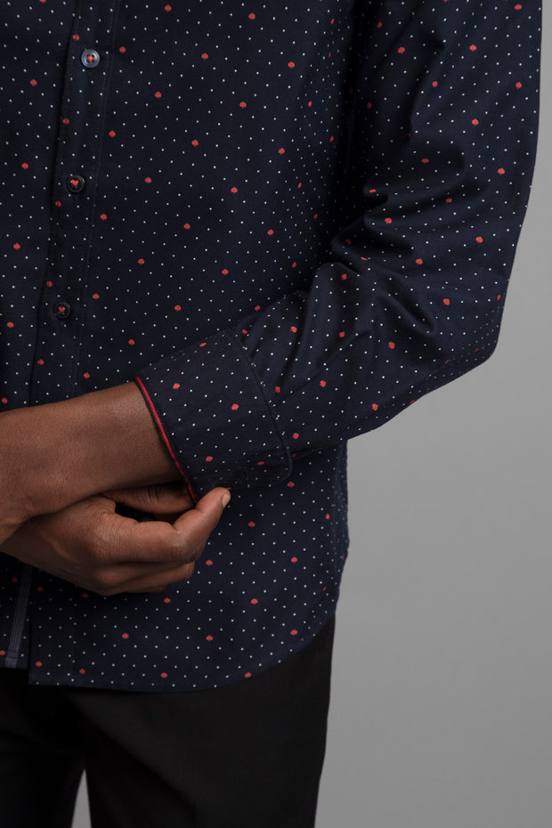 White Polka Dot & Red Spade Printed Dress Shirt