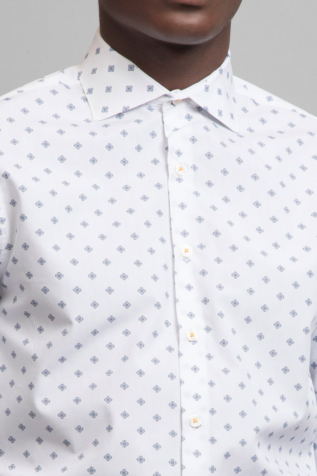White & Blue Floral Print Shirt
