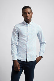 White & Blue Poplin Dress Shirt
