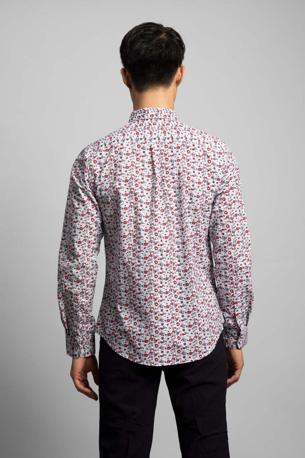 White & Red Floral Shirt