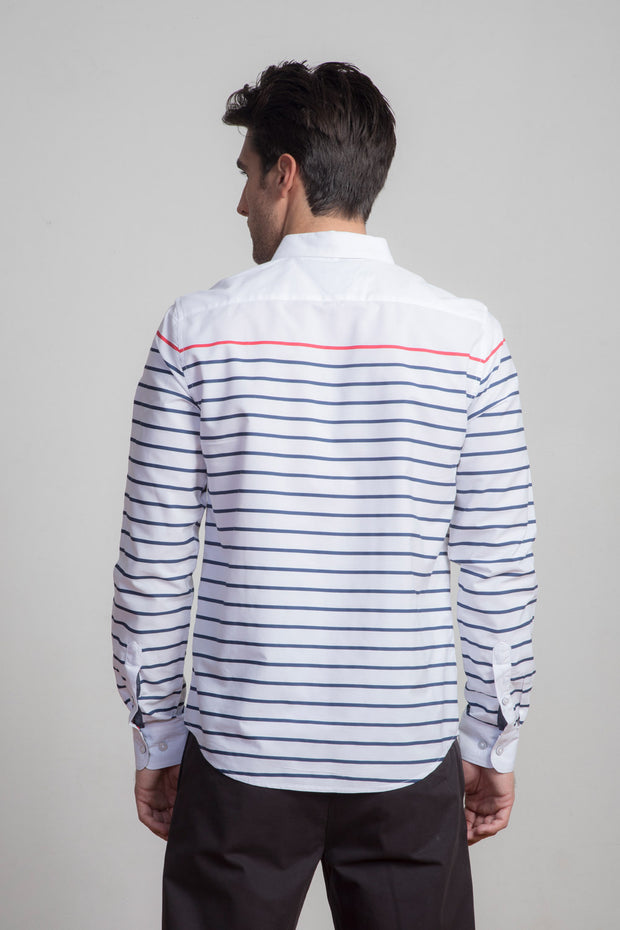 Blue/Red Striped White Button Down
