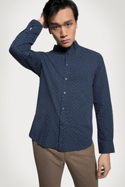 Polka Dot Poplin Navy Shirt
