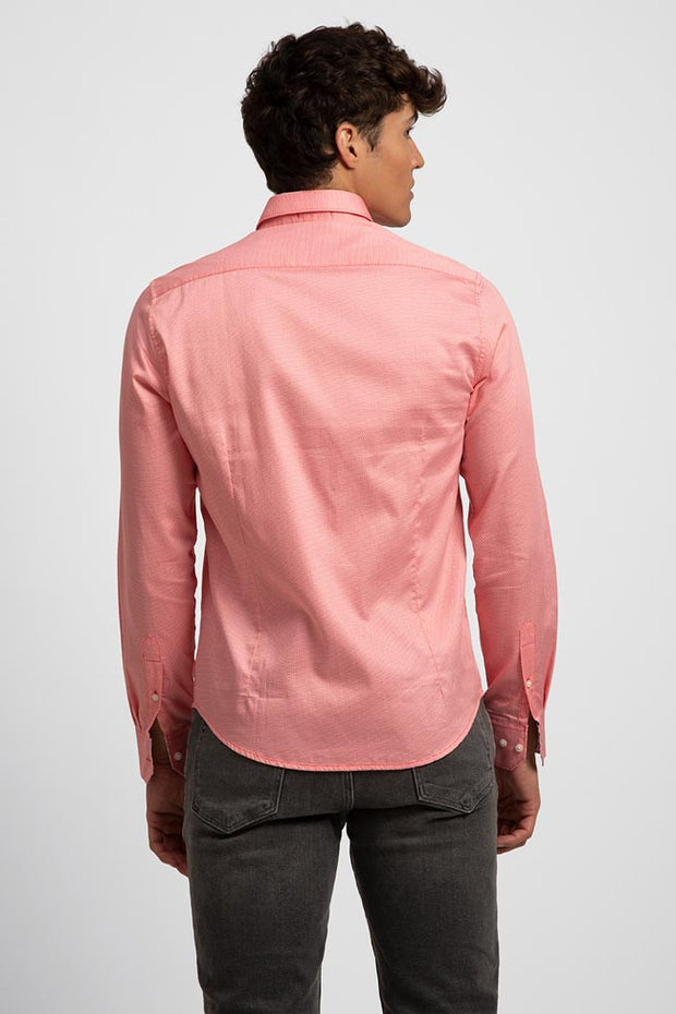 Salmon Geometric Printed Satin Shirt