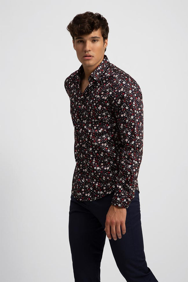 White & Red Floral Printed Satin Shirt