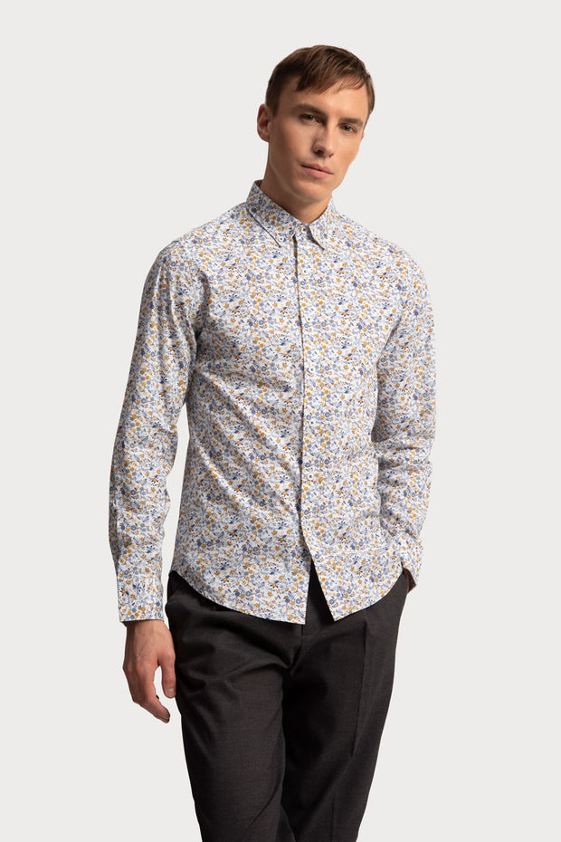 Neutral Floral Poplin Shirt