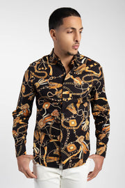 Black & Gold Lux Print Long Sleeve