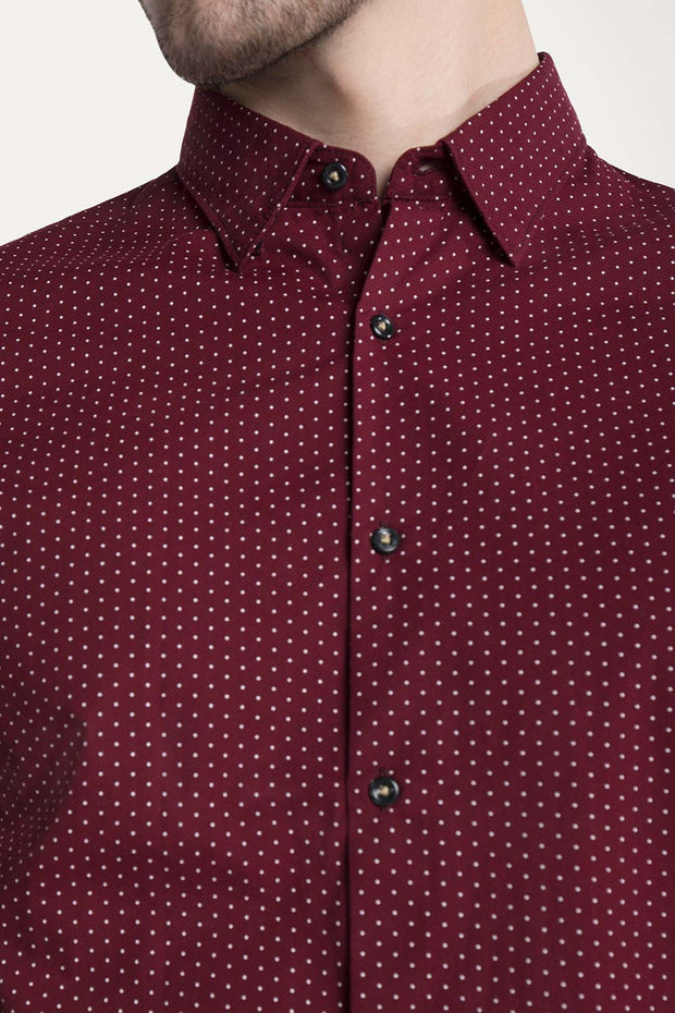 Burgundy Polka dot Button-Down