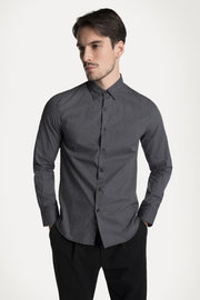 Black Geometric Button-Down