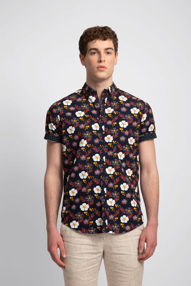 Navy Shirt W/ Mix Florals