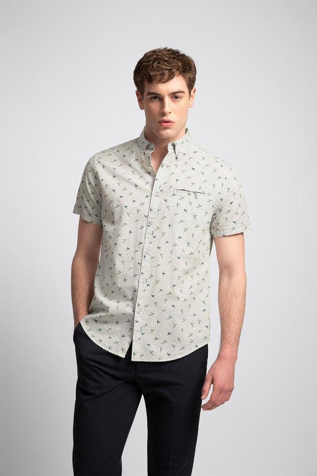 Green & Blue Bird Print Shirt