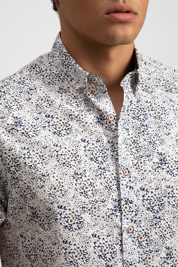 Sketchy Floral W/Gold Accents Shirt