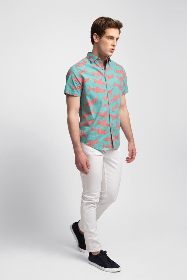 Aqua W/ Red Shark Print Shirt