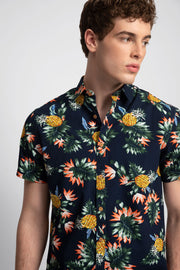 Navy Pineapple Floral Print
