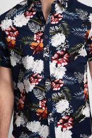 Navy Shirt W/ Red Hibiscus Floral