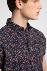 Navy Shirt W/ Multicolored Roses