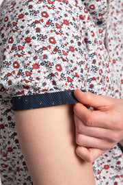 Red & Navy Floral Shirt