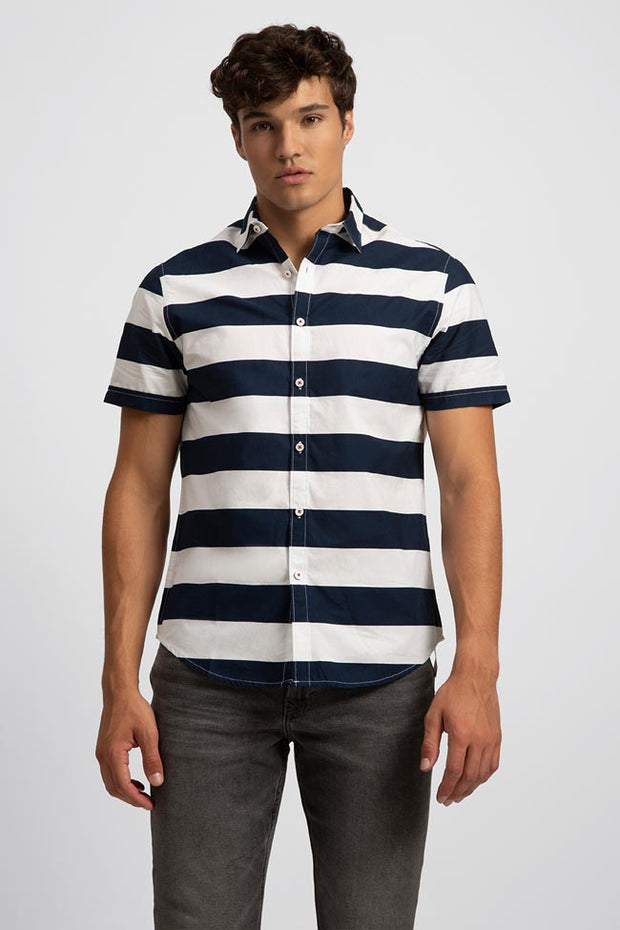 White Poplin W/ Navy Stripe Shirt