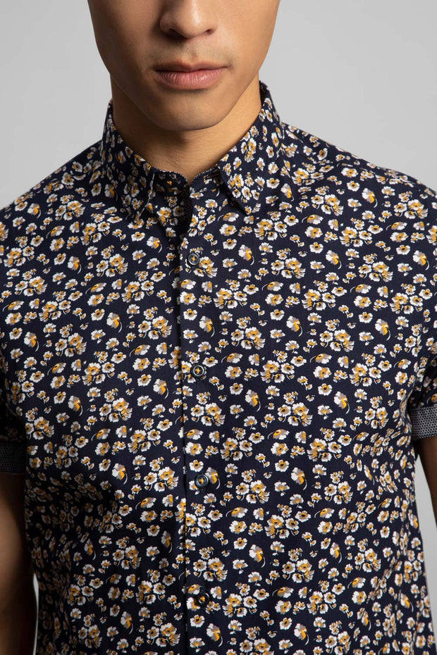 Navy & Gray Floral Shirt