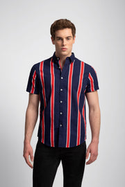 Navy & Red Wide Stripe Shirt