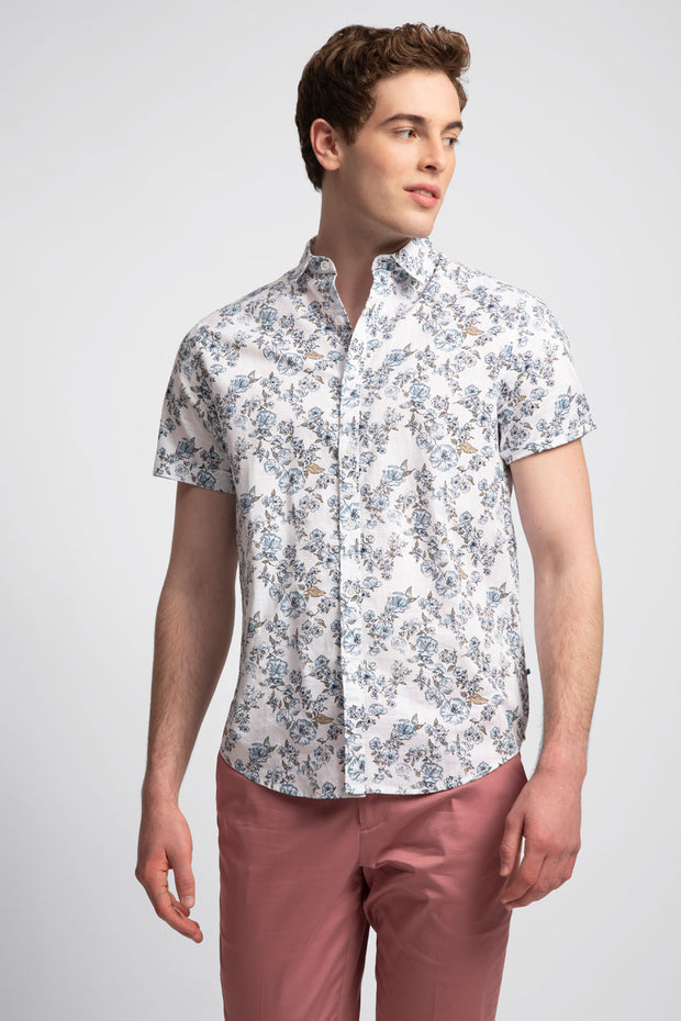 Mix Floral Printed Slub Shirt