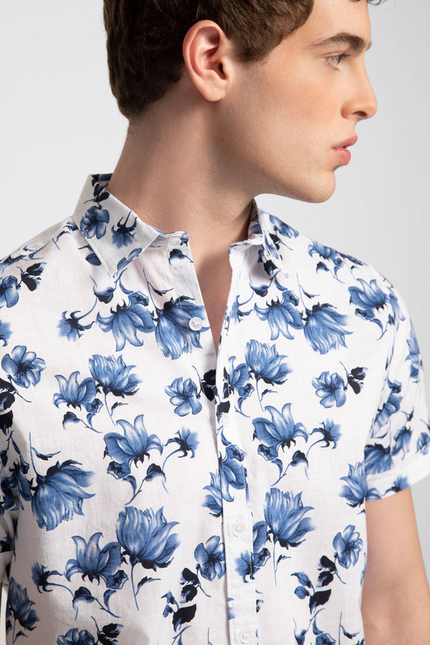 Blue Floral Printed Slub Shirt