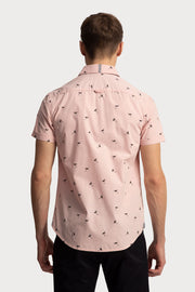 Pink & Navy Flamingo Printed Shirt