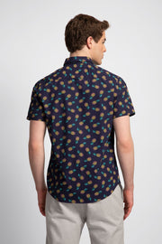Navy Shirt W/ Pineapple Prints